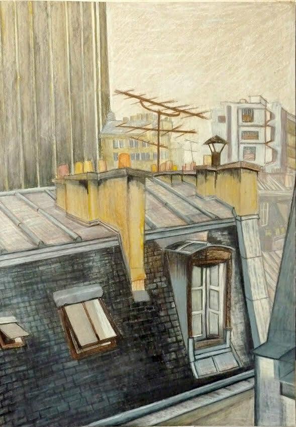 Parisians roofs - 50x75cm - Chalk